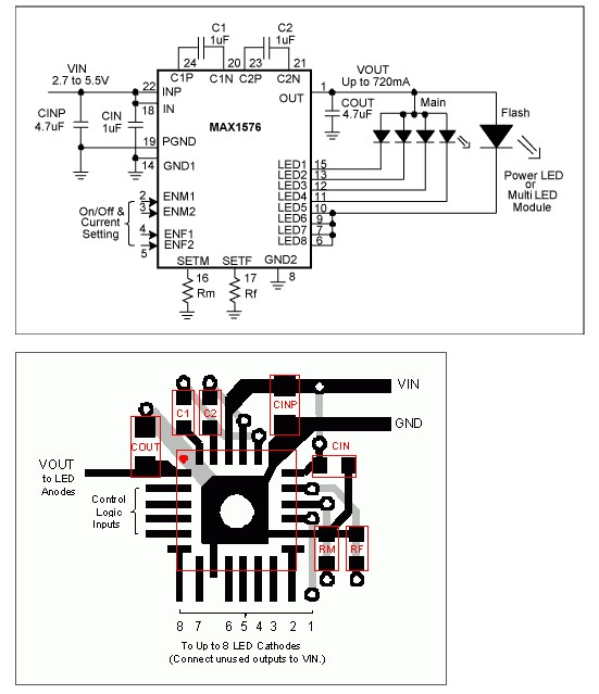circuit board layout guidelines for white led charge pumps