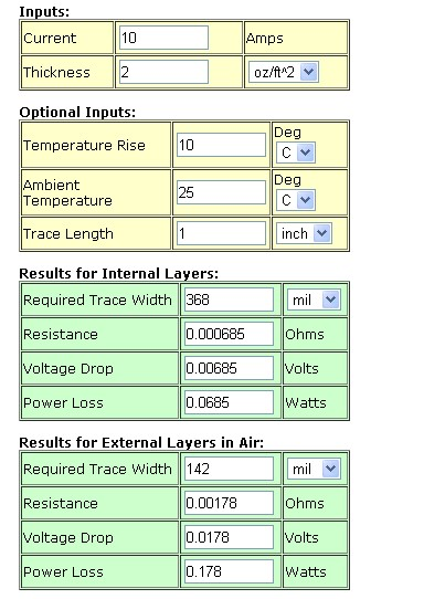 Trace Width Website Calculator - Engineering Technical -PCBway