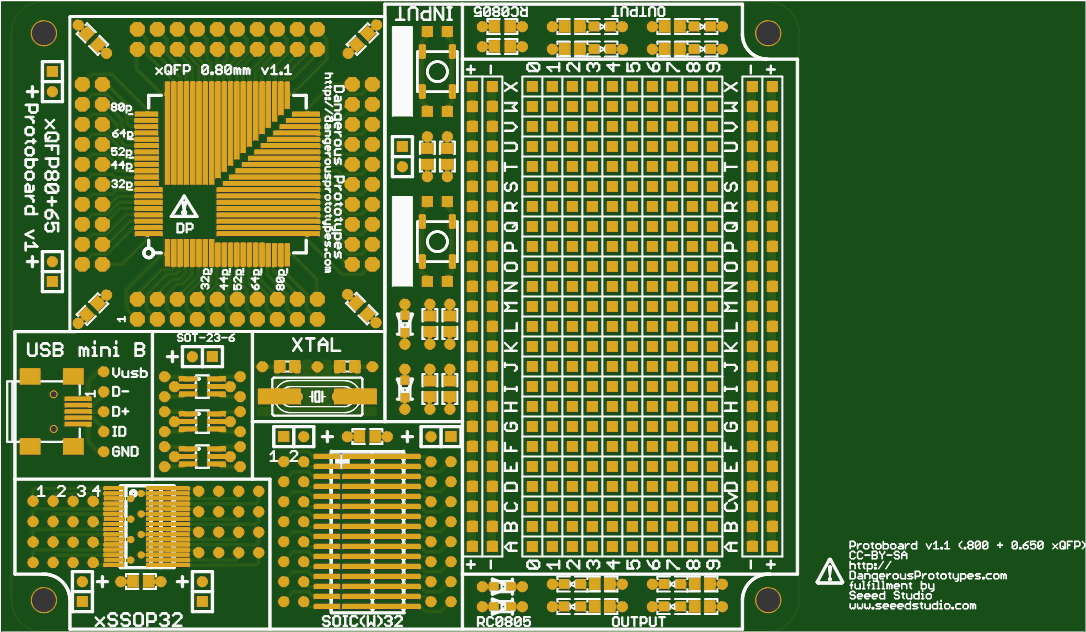 Prototype board for working with xQFP chips and SMD parts