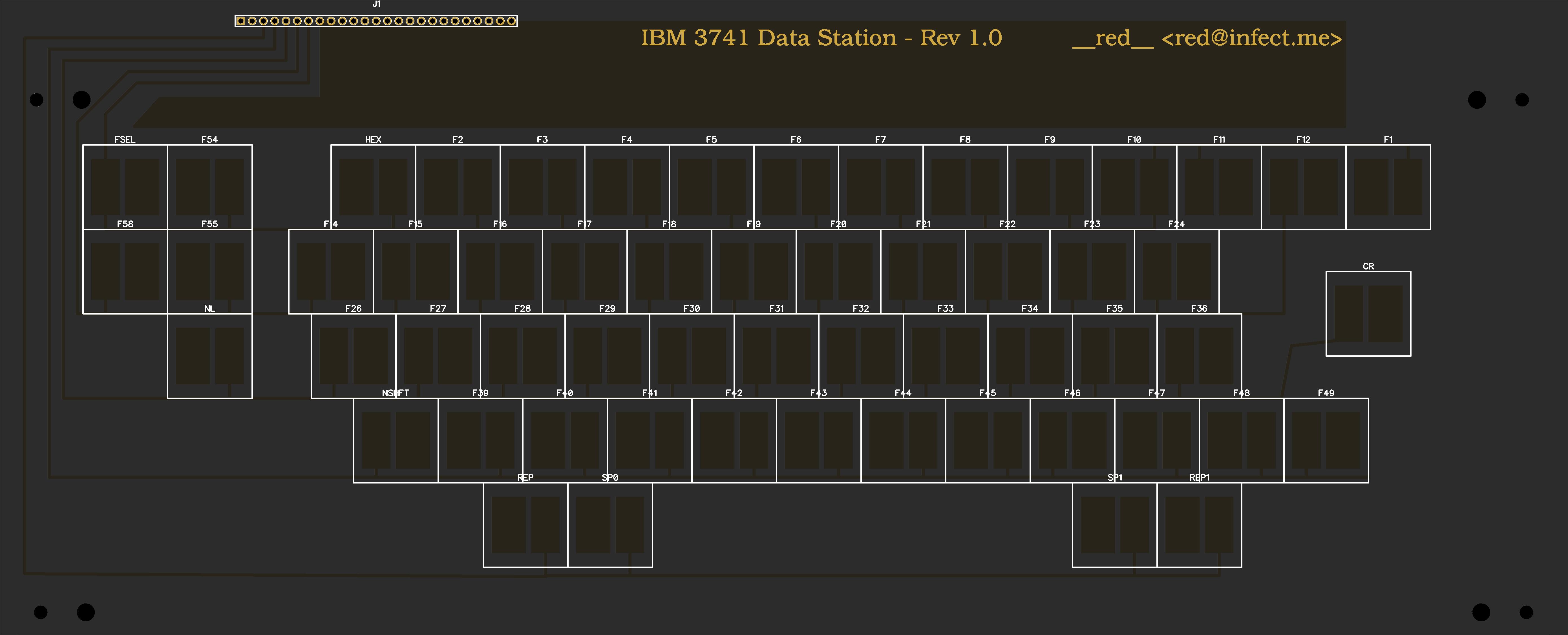 IBM 3741 Data Station Beamspring Keyboard PCB replacement