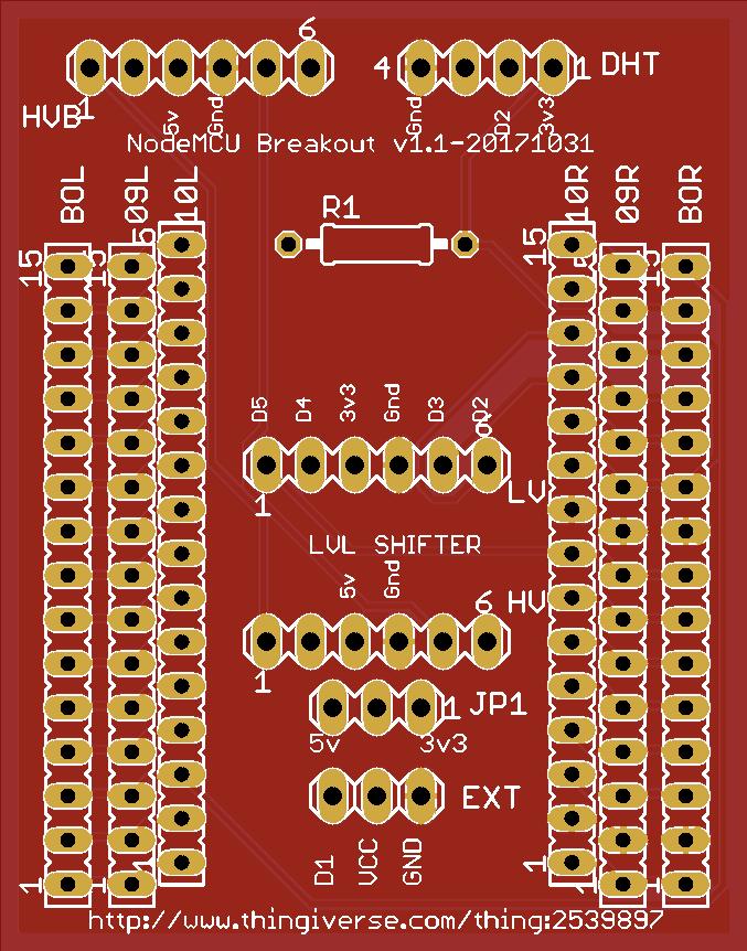 NodeMCU DHT/Sensor/LED Controller Breakout Board-v.1.1