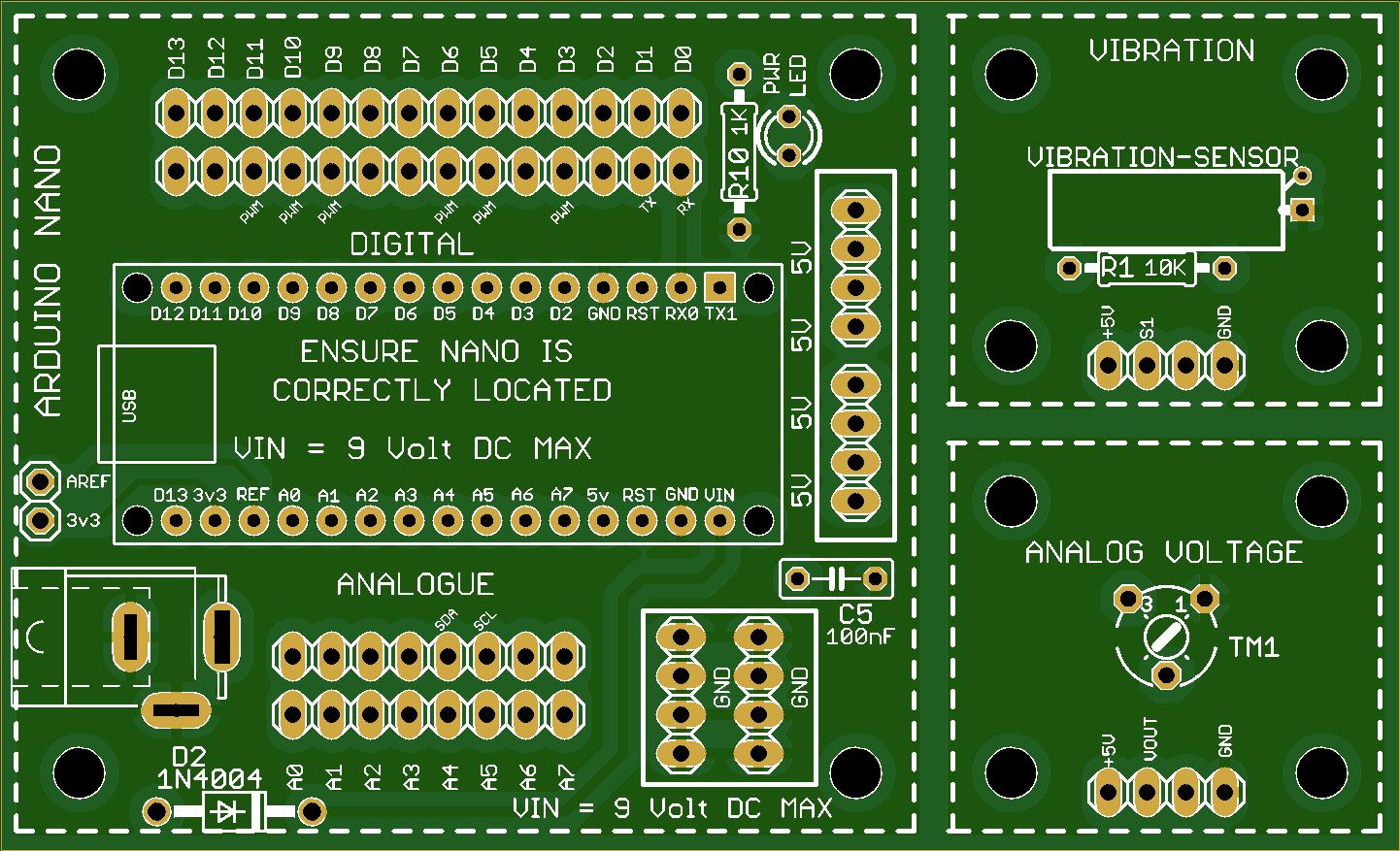 SENSOR2 THROUGH-HOLE Arduino Nano PCB