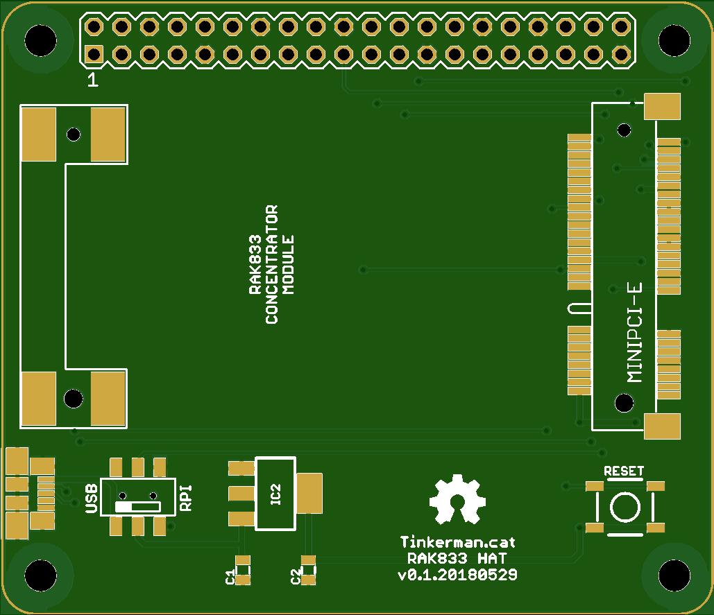 RAK833 Raspberry Pi Hat v0.1.20180529