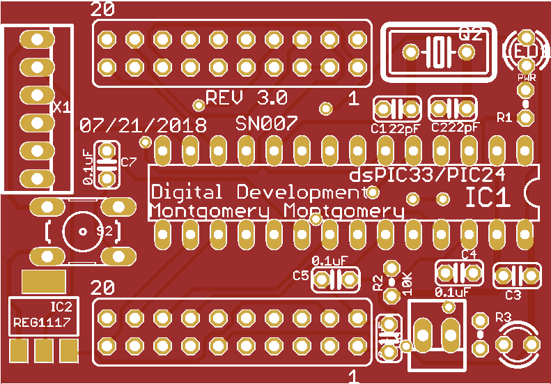 PIC24/dsPIC33 breakout board Rev. 3.0