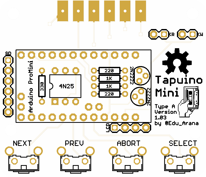 Tapuino Mini 1.03 - Arduino based datassette emulator for Commodore 64