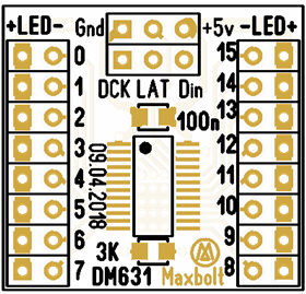 Test board 16-channel led driver DM631 (12bit PWM control)