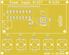 Power supply 22V 2,5A Atmega8 Control Board